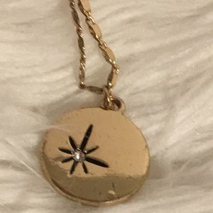 Gold Tone Star on Round Pendant Necklace